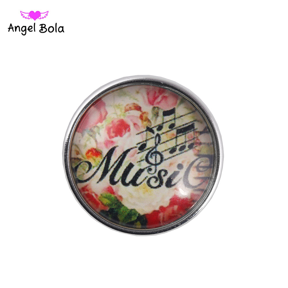 Snap Jewelry Music Print Glass Ginger Snap Button Fit DIY 18mm Snap Button Bracelet and Necklace NK002-99