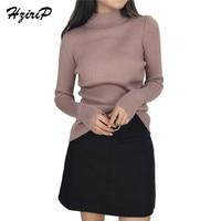 HziriP Hot Sale Soft Warm Women Sweater 2018 Spring New Slim Solid Long Sleeve Turtleneck Pullover
