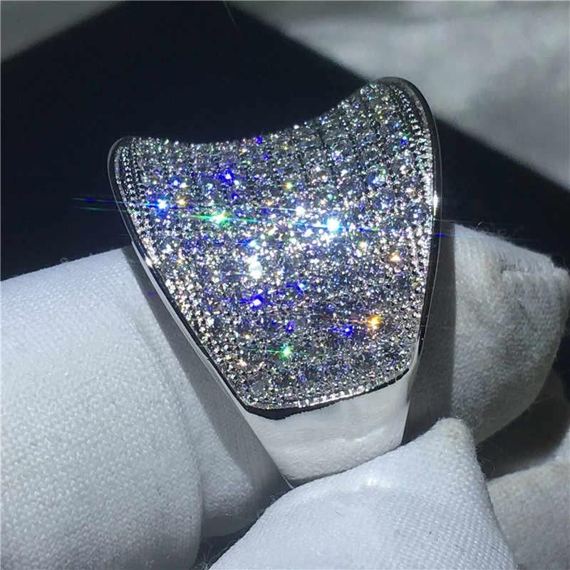 Vintage แหวน 925 เงินสเตอร์ลิง Pave การตั้งค่า 132 pcs 5A zircon Cz งานแต่งงานแหวนสำหรับเจ้าสาวเครื่องประดับ