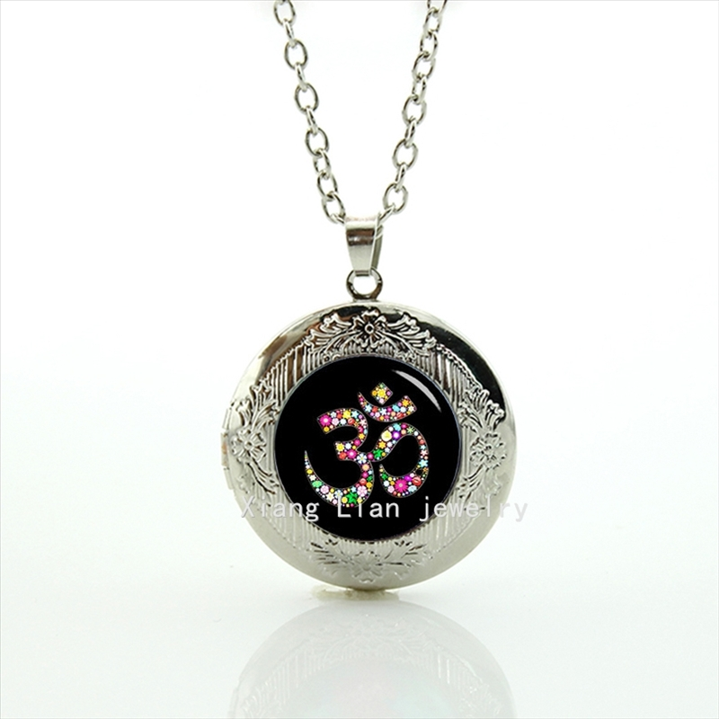 Maxi Necklace Collier Collares Om Ohm Aum Namaste Yoga Symbol Yoganamaste, Pendant Necklace Wedding Jewelry Plated Locket T481