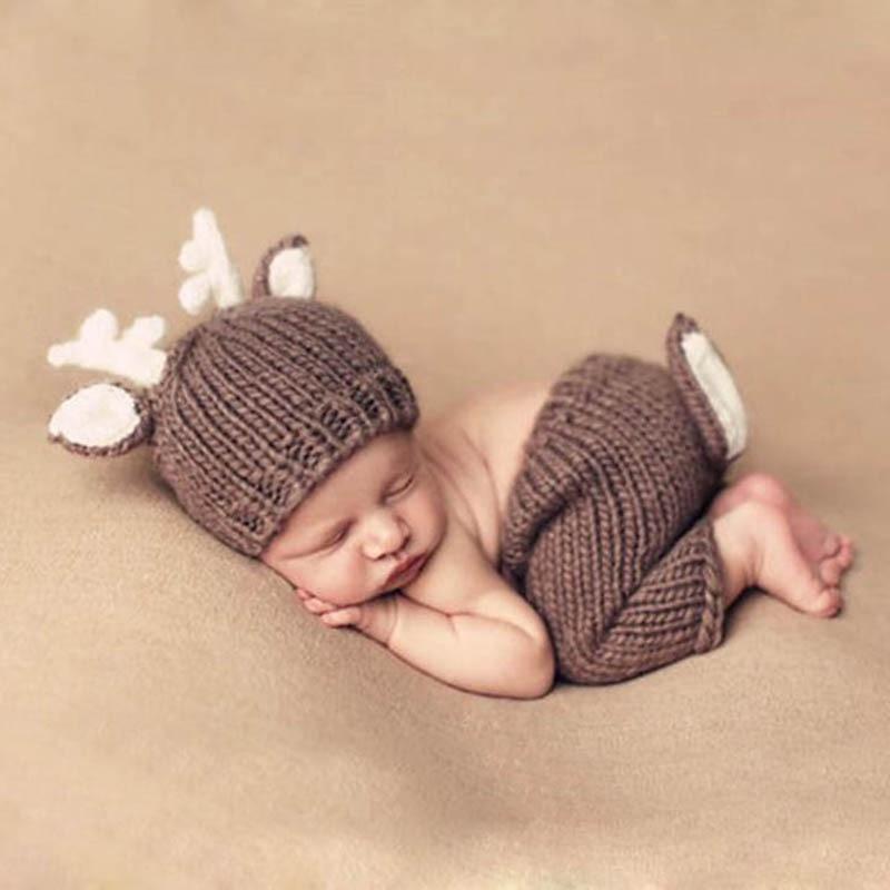 Newborn Baby Deer Outfits Photo Prop Handmade Knitted Clothing Sets Photography Crochet Costume Woolen Beanie Caps Pants Giraffe