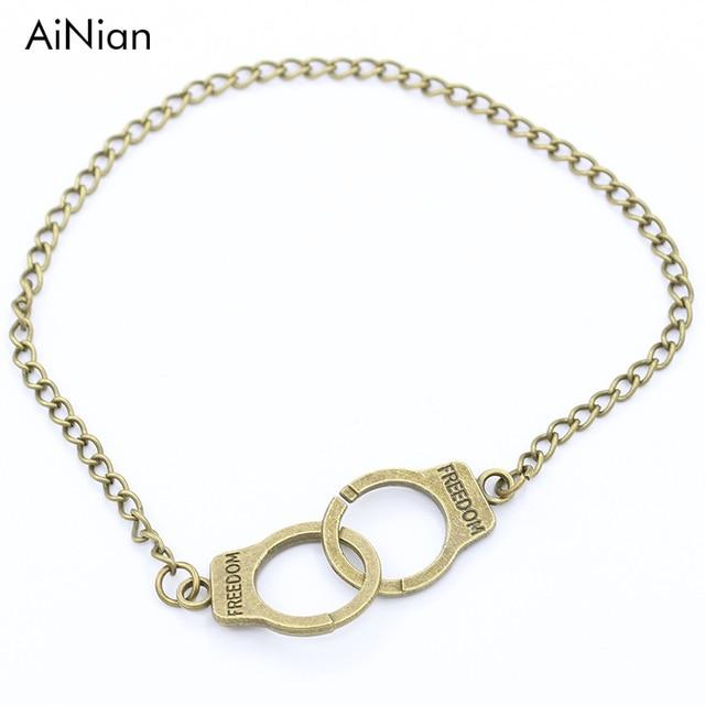 Ainian Handcuff Charm Bracelets Bangles Men Jewelry Pulseras Mujer Women Carved Freedom Lock Bracelet Valentine