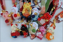 Japanese Wind Lucky Cat Fabric Key Chain Phone Pendant Wholesale 10pcs/lot *new*