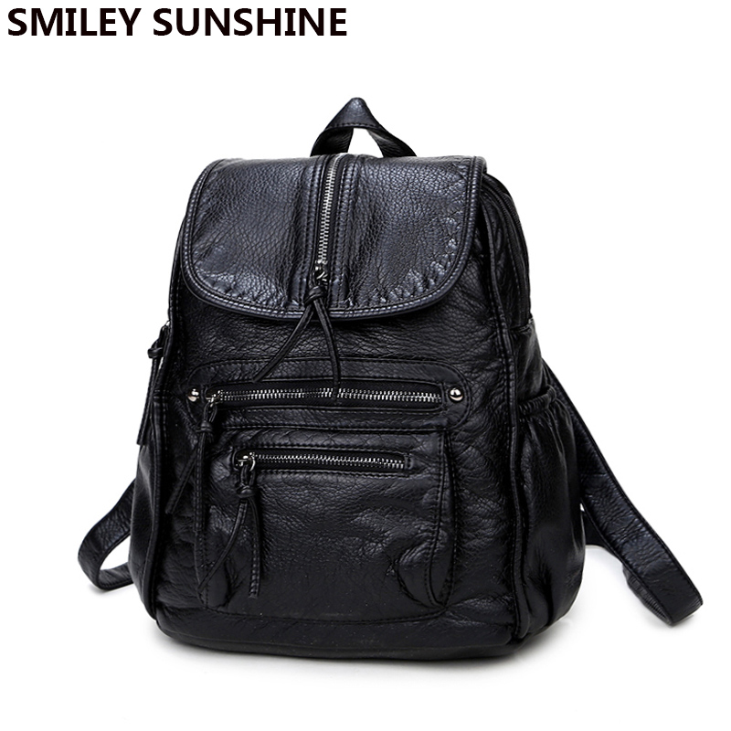 SMILEY SUNSHINE black leather women backpack female fashion drawstring school bag backpack for teenage birls bagpack