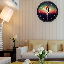 Airinou Romantic Lover In The Evening With Umbrella Style Wall Clock With  Metal And Glass Young
