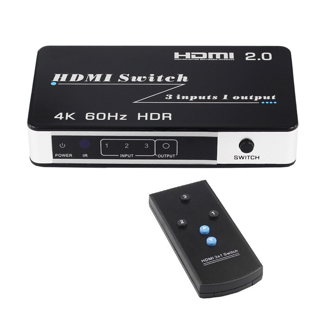 HDMI 2.0 Switch HDR HDCP 2.2 3x1 HDMI Switch 2.0 4K 60HZ HDMI Switch HUB Box 3 in 1 out Port HDMI Video Switcher for PS3 PS4 DVD