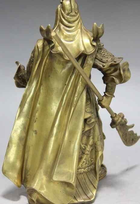 Китайский латунь Дракон Гуань Гун Гуань Юй Воин Guangong держать Ножи статуя рыцаря