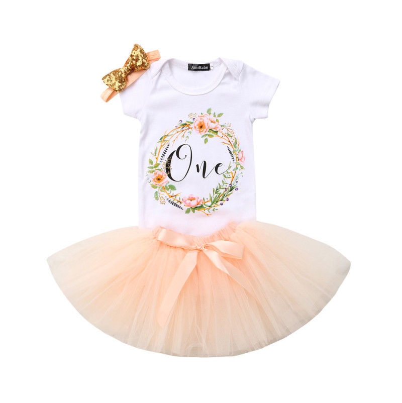 Newborn Infant Baby Girls Outfit Short Sleeves Glittery One Letters And Stars Printed Romper With Tutu Skirt Headband Costumes Clothing Sets
