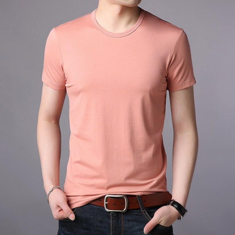 Soie de glace t-shirt de mâle version Coréenne de la tendance des hommes à manches courtes T-shirt demi-manches de poulet coeur col mercerisé co