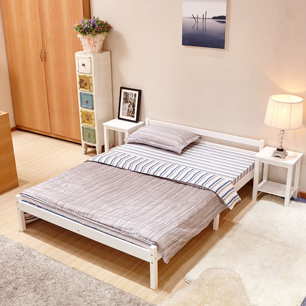 Double Size Bed Us 139 99 Aingoo Wooden Double Bed 4 8ft Bed Frame Solid Bedstead Base Queen Size Bed Frame Home Furniture Pine Bed In Wooden White In Beds From