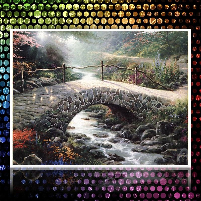 ᐂFull Diamond pintura puente paisaje pintura al óleo cuadros de ...