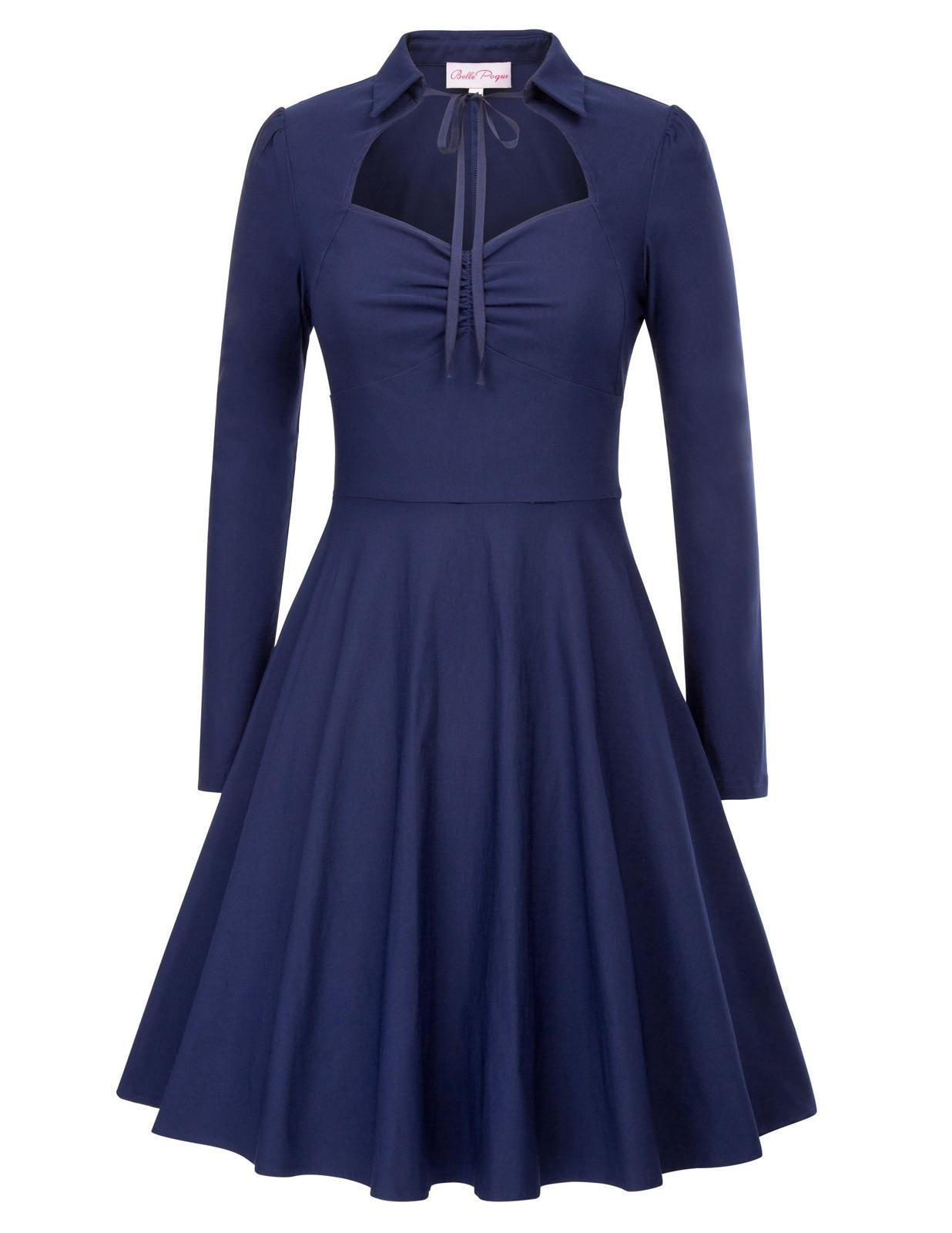 stock Spring Autumn vintage dress Women Solid Color Lapel Collar Flared A-Line hollow out medieval bandage Dress elegant vestido