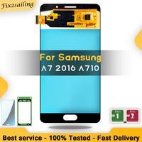 Супер AMOLED ЖК-дисплей для Samsung Galaxy A7 2016 A710 A710F A710M ЖК-экран дигитайзер сборка Замена Бесплатная доставка