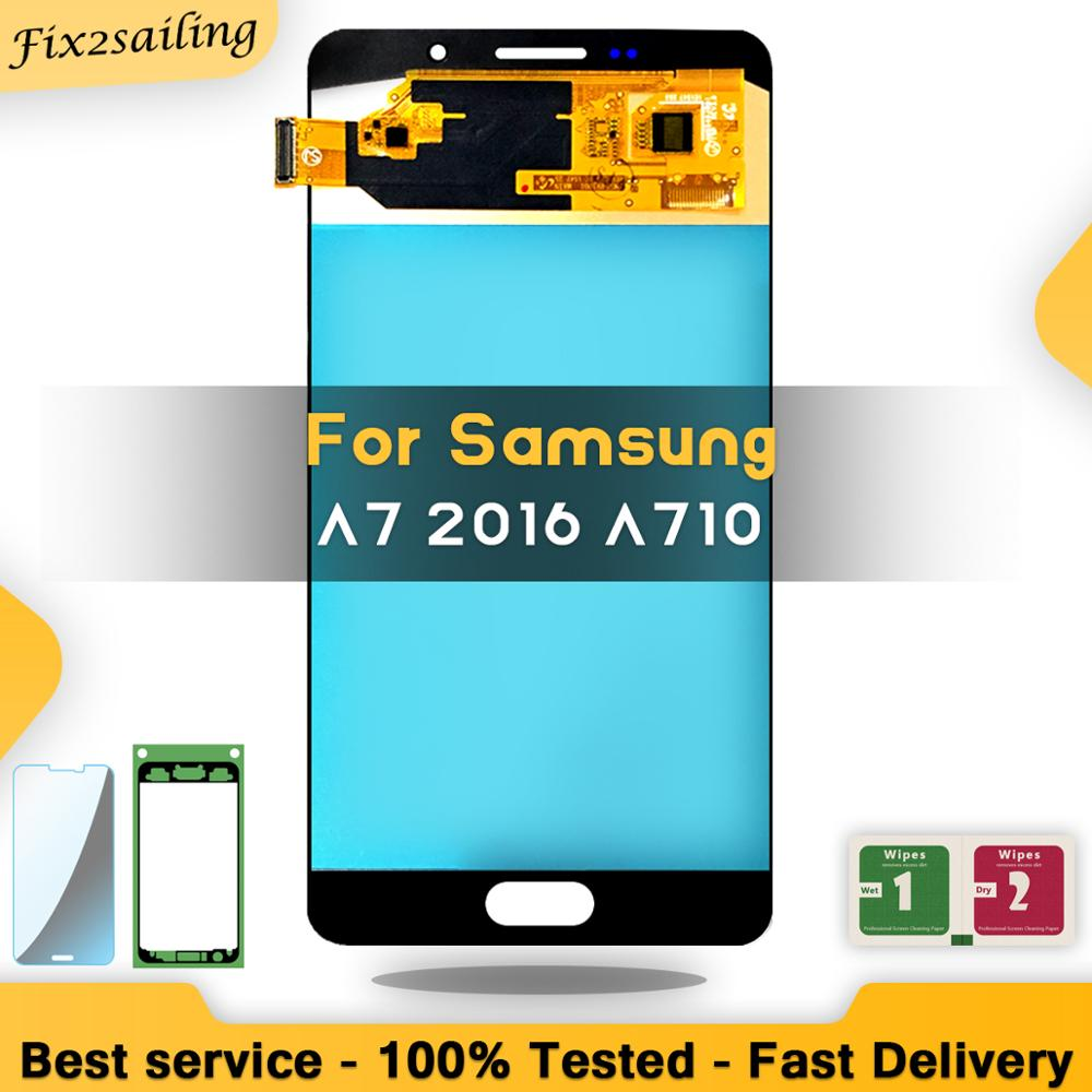 Super AMOLED Display LCD Per Samsung Galaxy A7 2016 A710 A710F A710M Lcd Screen Digitizer Assembly Rimontaggio di trasporto liberoSuper AMOLED Display LCD Per Samsung Galaxy A7 2016 A710 A710F A710M Lcd Screen Digitizer Assembly Rimontaggio di trasporto libero