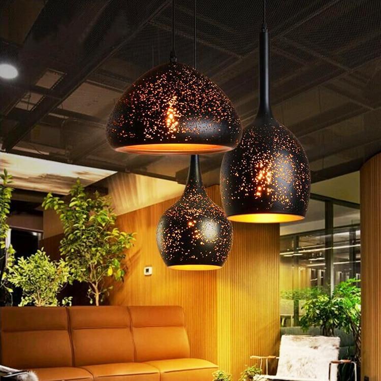 E27Nordic loft retro cafe bar iron etching lampshade pendant lamp single head bar restaurant industrial wind rust pendant lights