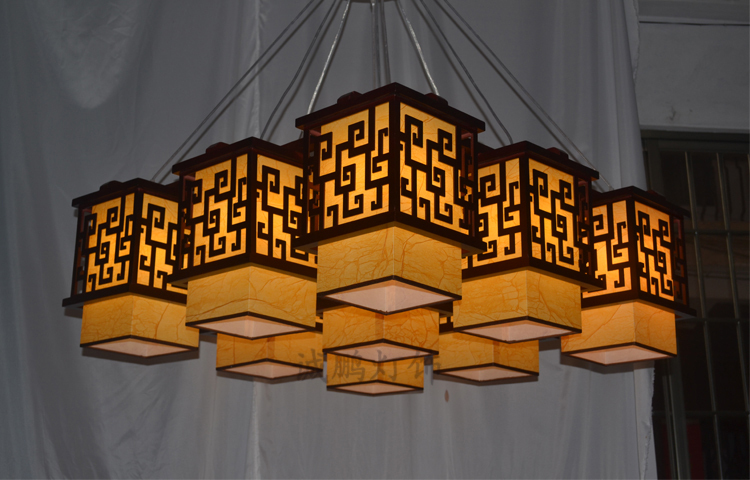 Modern Chinese brushed suede living room chandelier lighting ...