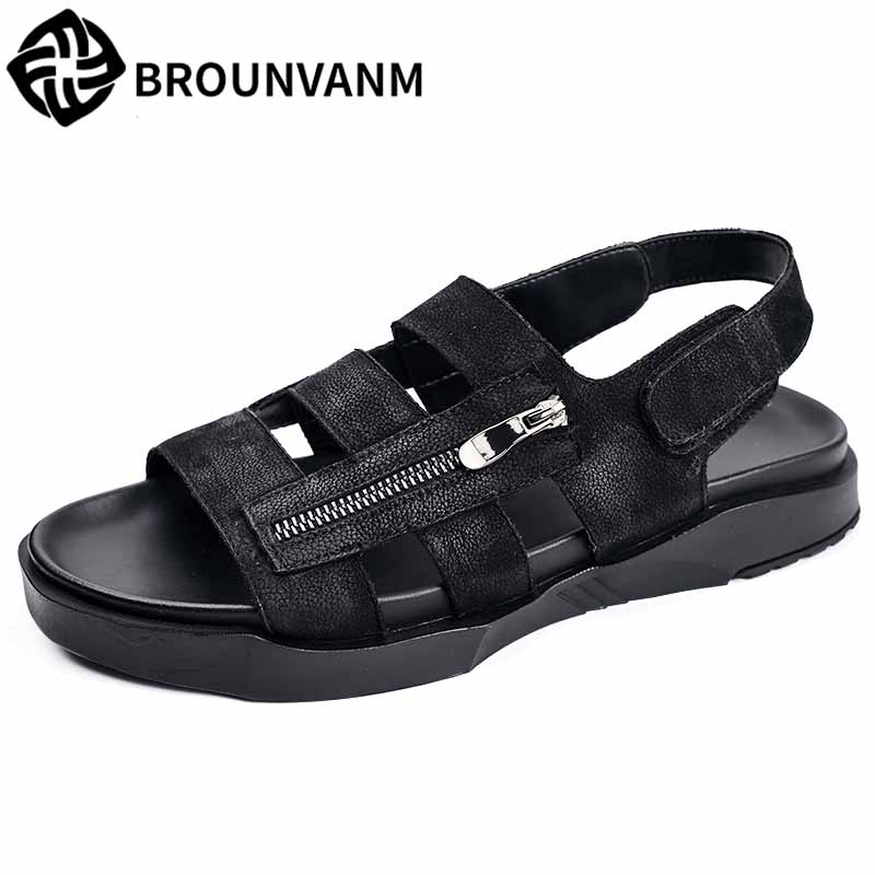 mens Rome sandals summer male sandals Sneakers Men Slippers Flip Flops casual Shoes beach outdoor anti-skid rivets cowhide male