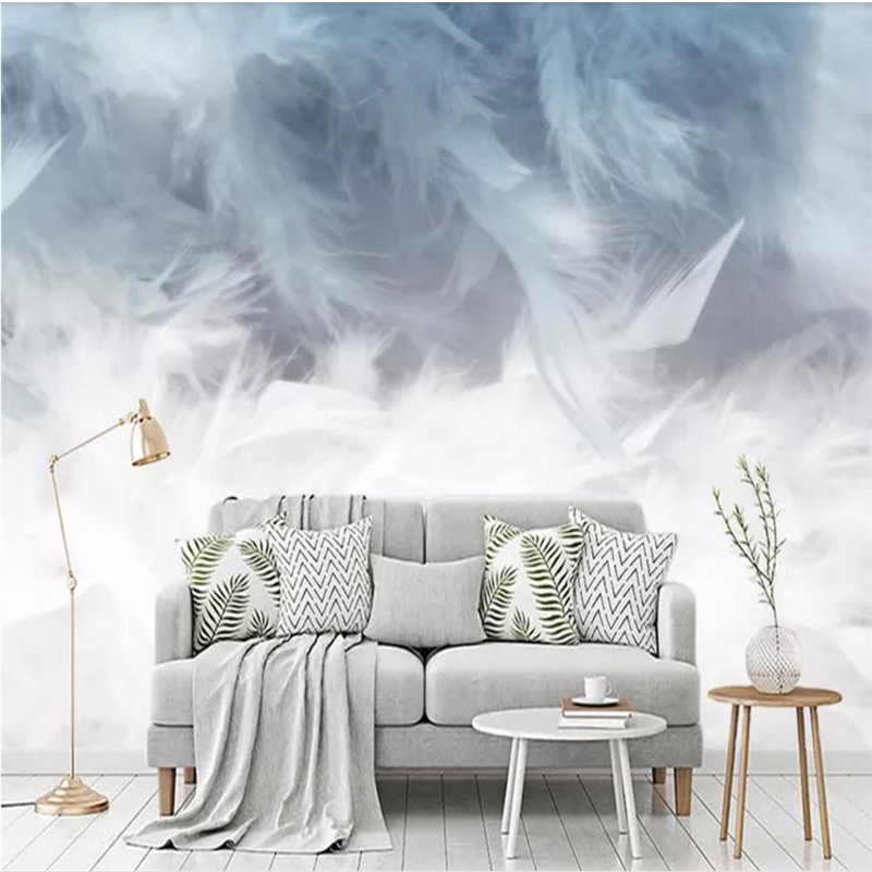 Custom wallpaper Nordic modern hand-painted abstract feathers small fresh living room wall waterproof material