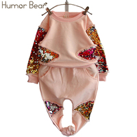 Humor Bear Girls Clothing Set Fashion Sequined Flower Long Sleeved Pant Suit Girls Set Baby Girls