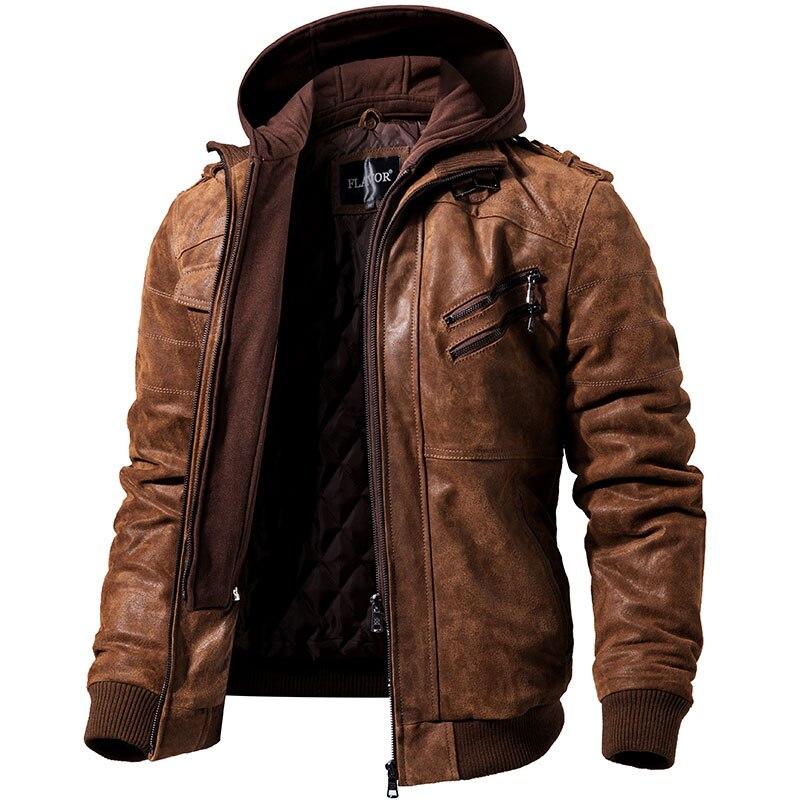 Для мужчин из натуральной кожи мотоциклетная куртка съемный капюшон зимняя куртка Для мужчин теплая натуральная кожа Куртки