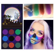 ZHENDUO 9 Colors Halloween Theme shimmer Glitter Eyeshadow Palette Highlighter Diamond  Shadow beauty Makeup