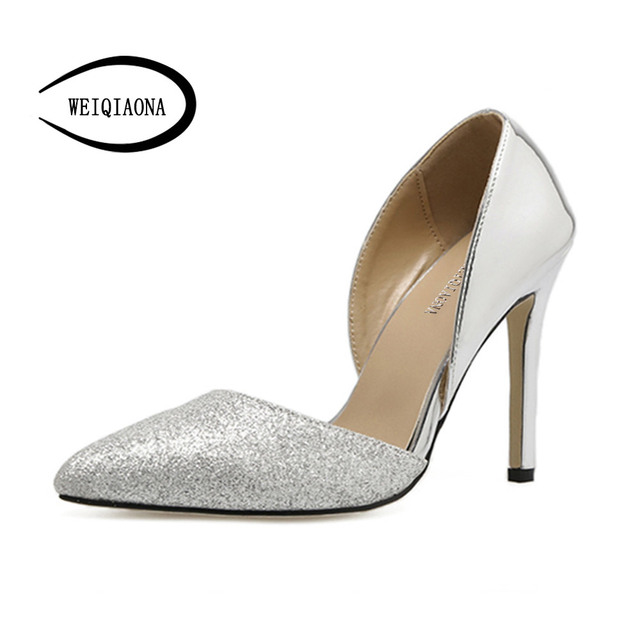 cde563396329 WEIQIAONA 2018 New Brand Design Bling Luxury Silver Sexy Women Shoes  Pionted Toe High Heels Party Shoes Dress Shoes Ladies Shoes