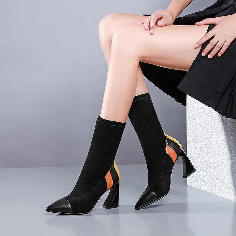 Femmes hiver automne haute couture bout pointu en cuir véritable mélange de couleur bottes femme élégant talon carré Faux daim Slim bottes