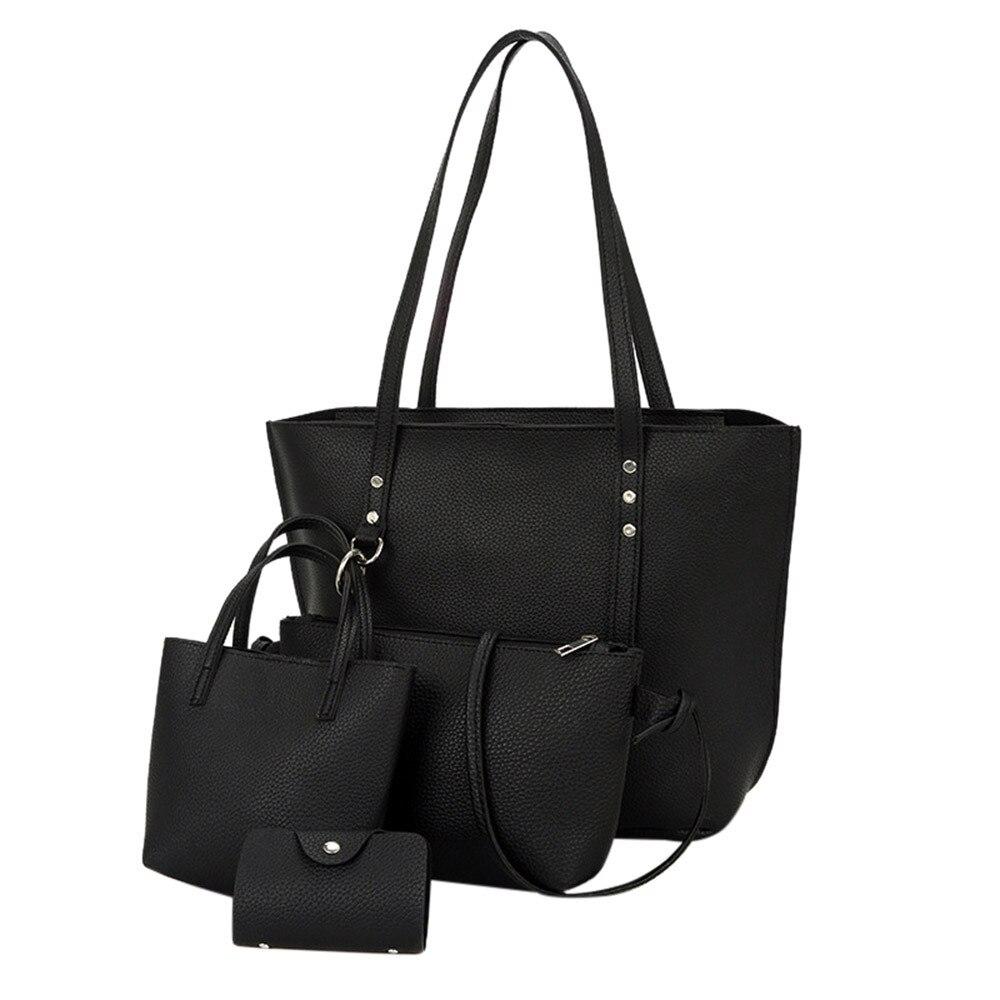 Maison Fabre 4Pcs Shoulder Bag Women Pattern Leather Shoulder Bag Strap Crossbody Bag Handbag Wallet