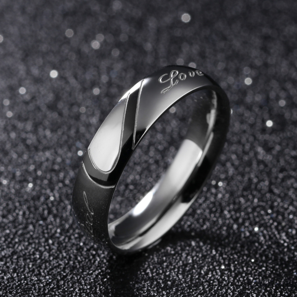 316L Stainless Steel Silver Half Heart Simple Circle Real Love Couple Ring 5