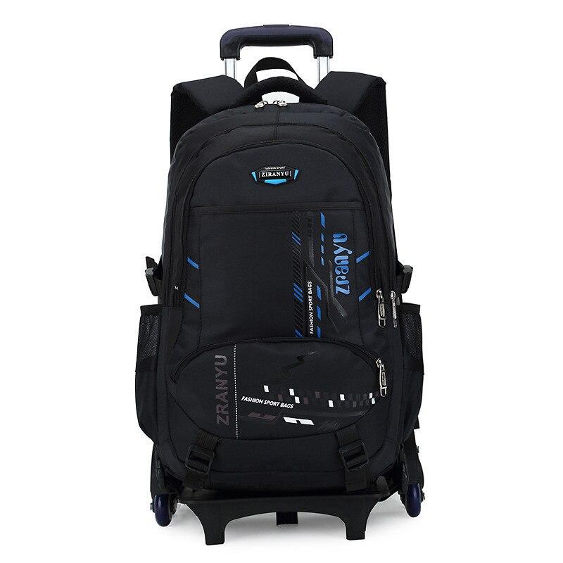 Derniers sacs d'école amovibles pour enfants avec 2/6 roues enfants garçons filles Trolley cartable bagages livre sacs à dos à roulettes