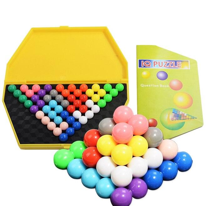 IQ пирамиды Бусины головоломки Logic разум Логические Развивающая игра Игрушечные лошадки для Для детей Пирамида Бусины Puzzle