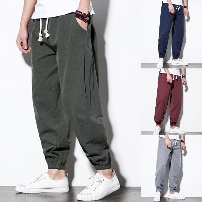Men Linen Trousers Summer Elastic Waist Drawstring Beach Pants Loose Sport Gym Jogger Pants Casual Harem Trousers 5XL