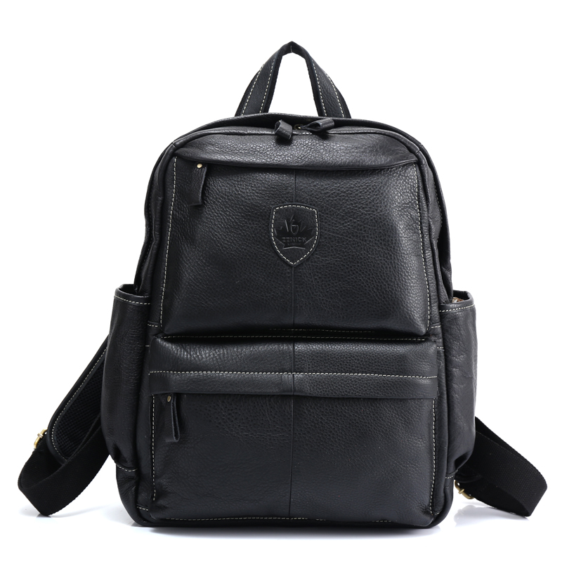ZZNICK 2017 Genuine Leather Backpack School Backpack Travel Backpack Male Fashion Backpack Schoolbag Cow Leather BLACK male classic microfiber leather backpack