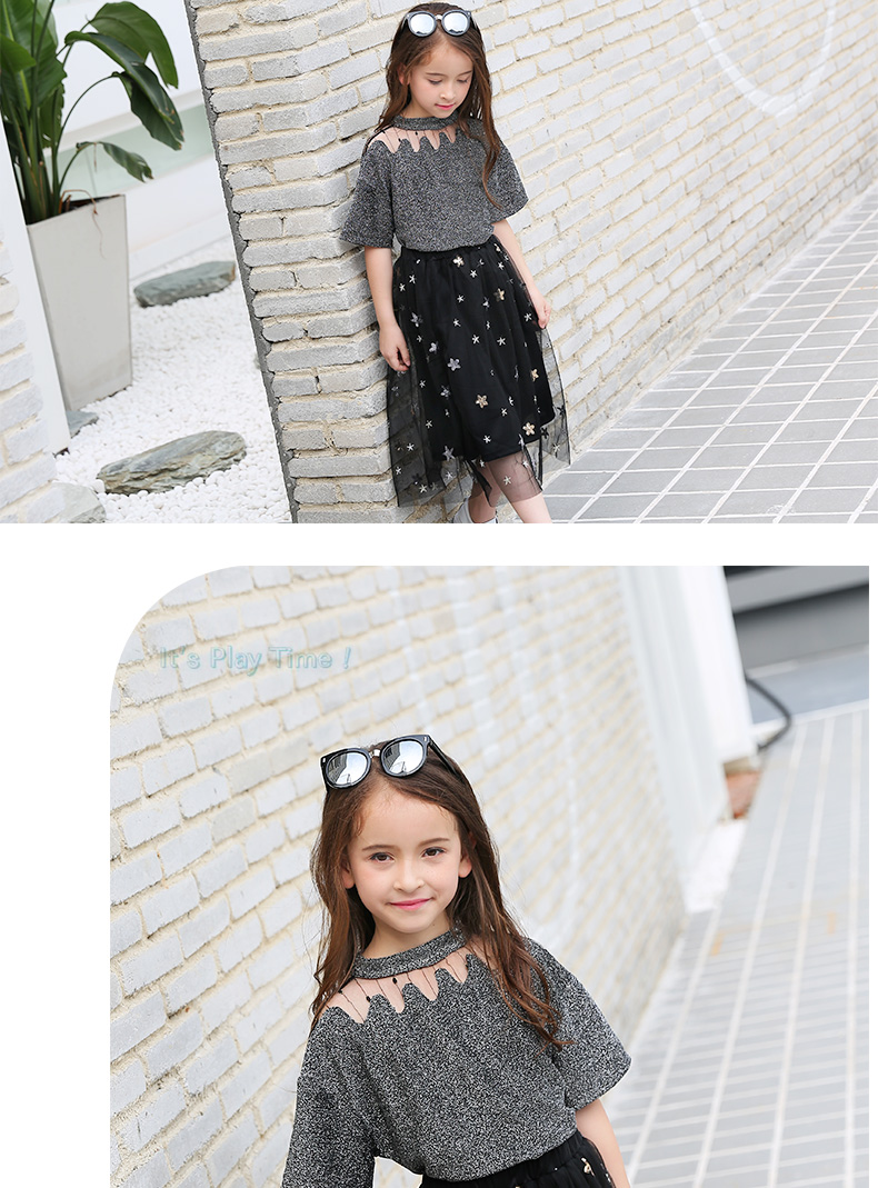 c8f195d3a2e0 Girls Clothing Sets Teenage Summer Fashion costume for Big girl outfits  2pcs T shirt + Sequins Mesh Skirts 6 8 10 12 14 16 Years 0 10 11 A ...