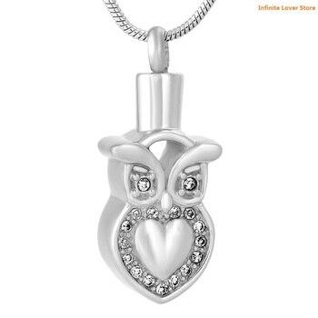 KLH9637 Ночная Сова форма животное памятная урна для праха ожерелье для кремации ожерелье, оптовая продажа кремационные украшения для прах пит...