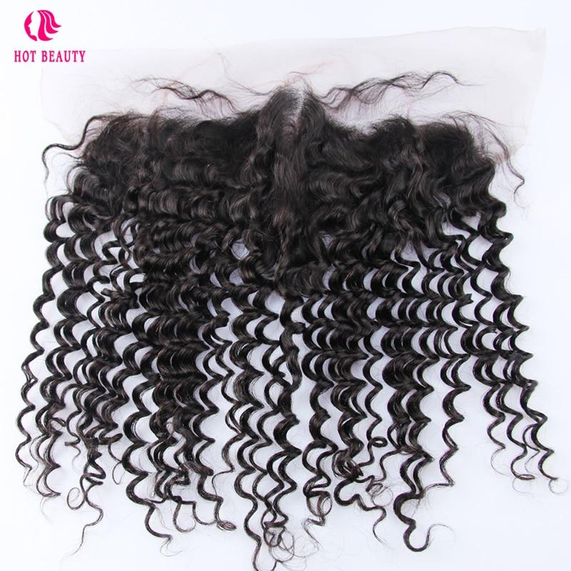 Hot Beauty Hair Pre gezupft peruanische tiefe welle spitze frontal 13 - Menschenhaar (für Schwarz)