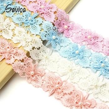 975f511b86aa Savica 1y lot 30mm bordado mariposa de encaje vestido de muñecas de tela de  encaje