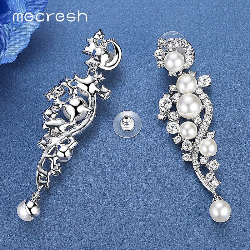Mecresh Luxury Simulated Pearl Long Earrings för kvinnor Silver - Märkessmycken - Foto 5