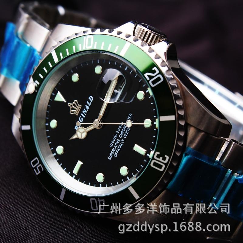 2016 Lyx Märke Armbandsur Hk Crown Mode Män Roterbar Mantel GMT - Herrklockor - Foto 4
