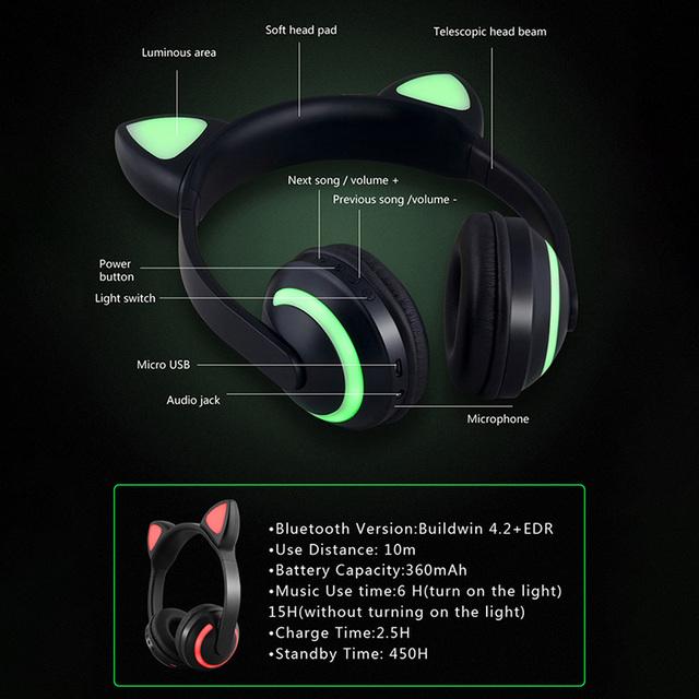 Cat Ear Headphones 7-Color Flashing Glowing Ear Headset Earphone Bluetooth Headphone For Girls Kids Gaming Rabbit Deer Devil Ear