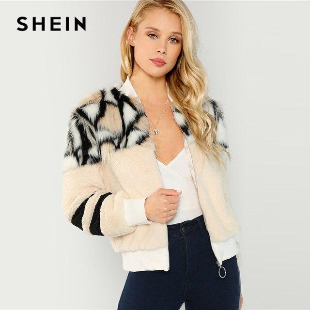 SHEIN Renkli O Ring Zip Up Faux Kürk Ceket Rahat Standı Yaka Uzun Kollu Highstreet Giyim Kadın Kış Kısa mont