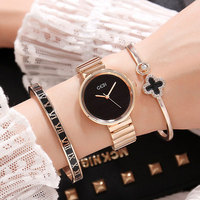 Famous Brand Women Watches 3 PCS Set Bangle Rose Gold Female Style Quartz Wristwatch Ladies Popular Alloy Watch montre femme