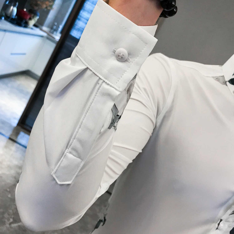 カミーサ Masculina ストリート長袖シャツ男性服カミーサ Homem 黒、白 2019 秋中国風の印刷シャツ男