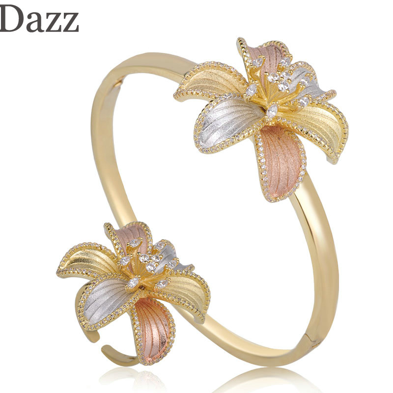 Dazz Exquisite Three Tone Colors Lily Flower Shape Shining Zircon Bangle Ring Set Jewelry For Women Girl Wedding Ornament Bijoux