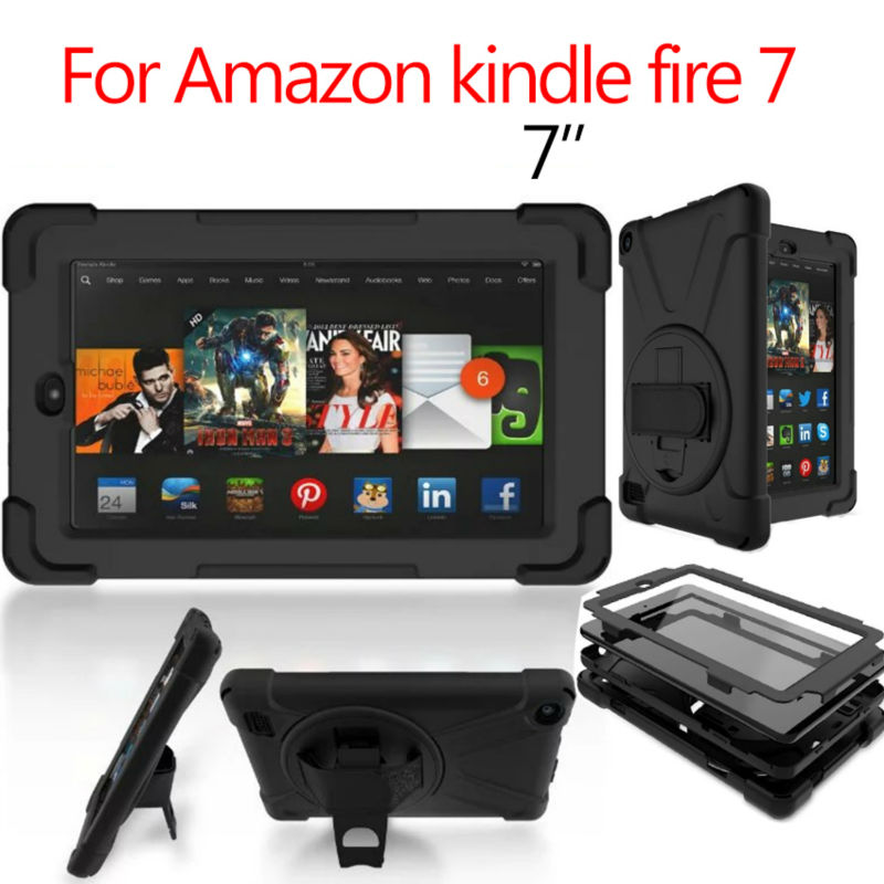 For Amazon kindle fire 7 Tablet Cover Heavy Duty Fundas Shockproof Armor Case Full Body 360 Protect Shell Stand Skin Hand Holder