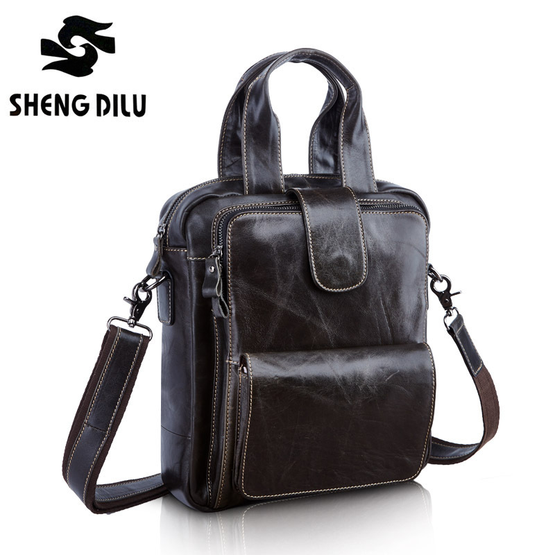 Casual First Layer Genuine Leather Men Big Briefcase Cowhide Man Handbag Vintage Men Messenger Bag Famous Brand Laptop Bag bolsa