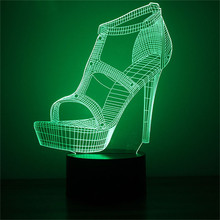 Shoes 3D LED Night Light Lamps Optical Illusion 7 Colors For Home 3D Visualization - Unique Lighting Effects Amazing Optical 3d led night light dynamic tractor car with 7 colors light for home decoration lamp amazing visualization optical illusion