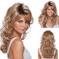 Мода коричневый блондинка парик косплей длинными вьющимися парик блондинки синтетические парики жаропрочных с основными моментами ombre дешевые парики для женщин
