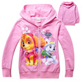 New Europe fashion autumn Patrol Dog children clothes long sleeved Sweatshirt  Hoodie zipper Cartoon dog jacket girls tops