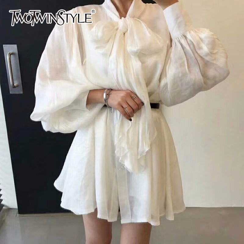 TWOTWINSTYLE 2018 Summer Dress For Women Lantern Sleeve Bow Collar Loose Casual Pearlescent Dresses Female Clothes Fashion